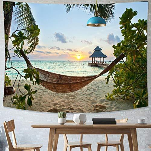 Tapiz de playa tropical estilo norte de Europa estrellado cielo tapiz hippie decoración de dormitorio tapiz psicodélico