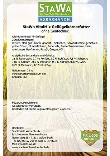 StaWa VitalMix Hühnerfutter Geflügelkörnerfutter Körnerfutter 25kg !!!GVO frei!!! mit Leinsaat & Hanfsaat + Oregano - 3