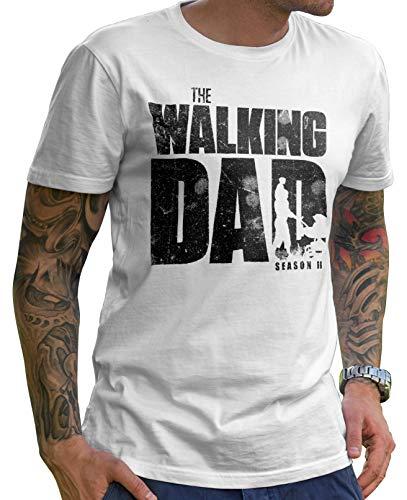 Stylotex Lustiges Herren Männer T-Shirt Basic   The Walking Dad   Geschenk für werdende Papas, Größe:S, Farbe:Weiss (4101)