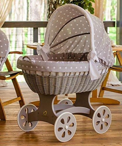 ComfortBaby ® HOME XXL Baby Stubenwagen - komplette 'all inclusive' Ausstattung - Zertifiziert & Sicher (Grau – GrauMitWeissenSternen)