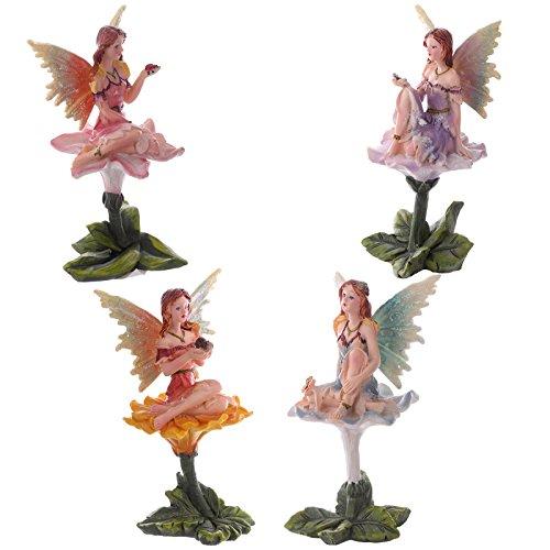 Juego de 4grandes flores hadas adorno de hogar y jardín Enchanted figuras de hada