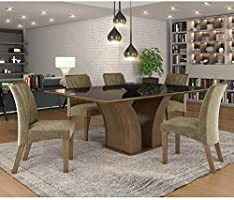 Conjunto Sala de Jantar Mesa 6 Cadeiras Leblon Espresso Moveis