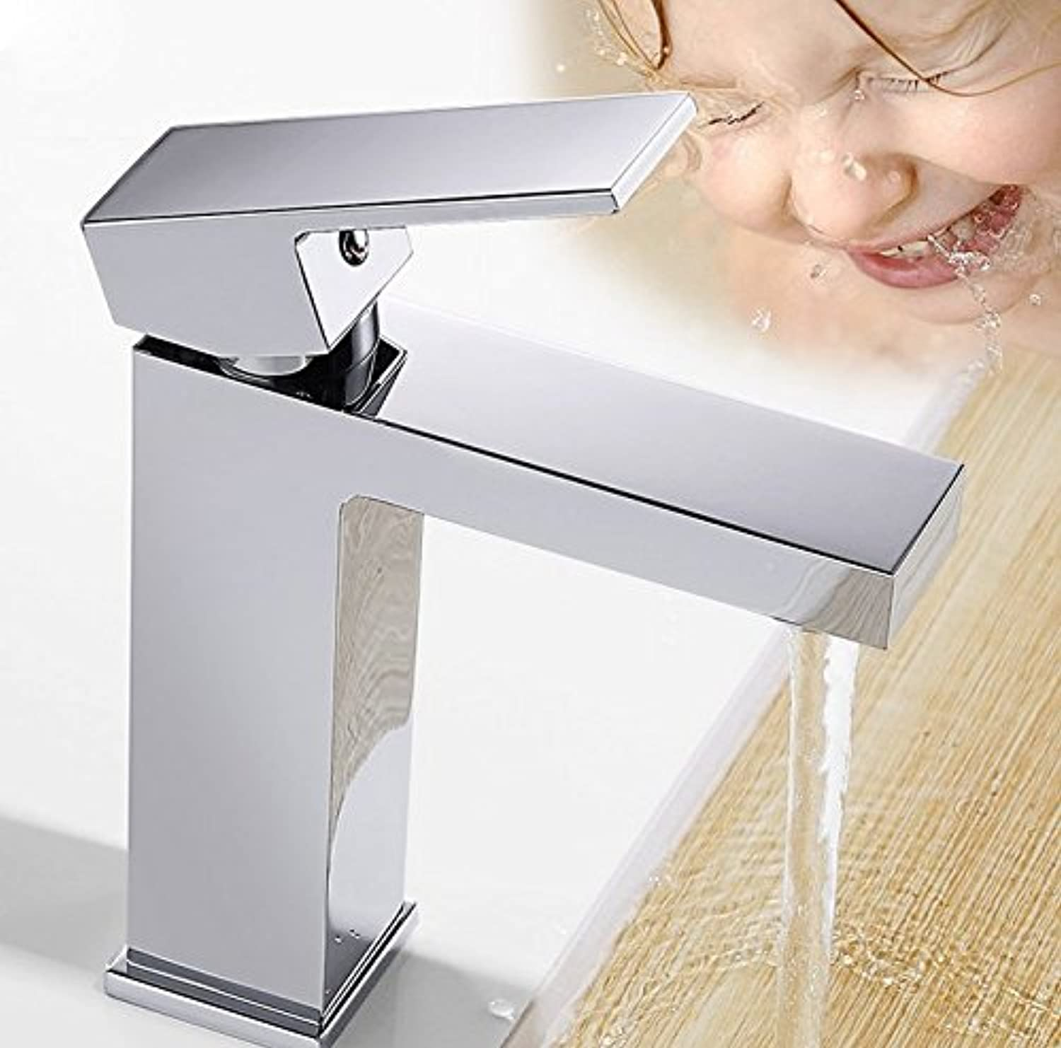 Mangeoo Faucet One Piece Faucet, All Copper, Four Square Faucet, Hot And Cold Basin Faucet Sanitary Ware.