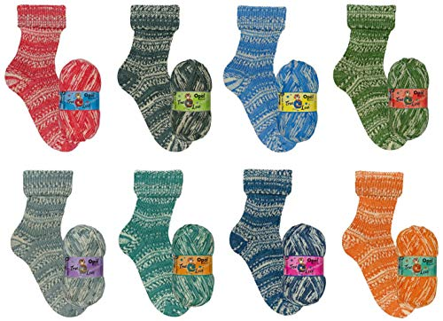 theofeel Sockenwolle Paket Opal True Love, 4 fädig, 8X 100g, 4 Fach Sockenwolle musterbildend