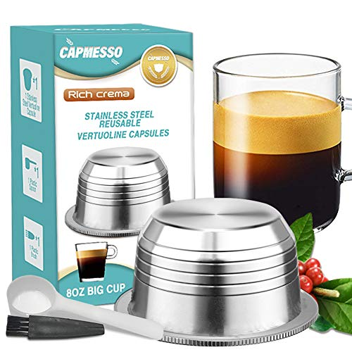 CAPMESSO Reusable Coffee Capsules, Stainless Steel Refillable Vertuo Pods Compatible with Nespresso Vertuoline GCA1 and Delonghi ENV135 (8OZ- The Newest Version)