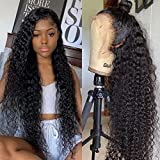Maxine 360 Lace Frontal Wig Pre Plucked with Baby Hair 22inch Water Wave Lace Front Wigs 150% Density Wet and Wavy Brazilian Human Hair Wigs for Women Natural Black Color Slightly Bleached Knots