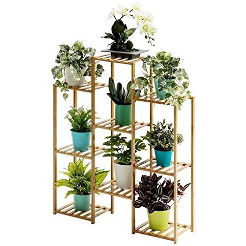 HSIOVE Decoración del hogar Soporte de Planta de Madera Estante de Almacenamiento de múltiples Capas Estante de exhibición de Flores Estante de macetas de bambú Estante de jardín Estantes de jardín