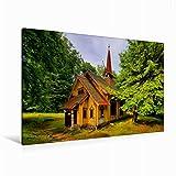 Premium Textil-Leinwand 120 x 80 cm Quer-Format Stabkirche Stiege | Wandbild, HD-Bild auf Keilrahmen, Fertigbild auf hochwertigem Vlies, Leinwanddruck von LianeM