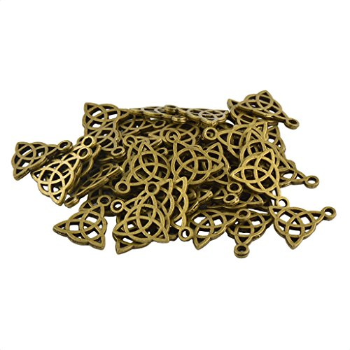 F Fityle 50 Pieces Triangle Celtic Knot DIY Jewelry Making Charms Pendant Ornament - Bronze