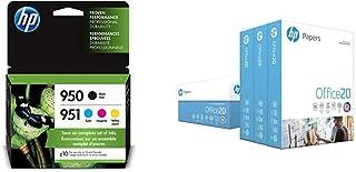 HP 950/951 Black, Cyan, Magenta & Yellow Ink Cartridges, 4 Cartridges & Printer Paper, Office20 Paper, 8.5 x 11 Paper, Let...