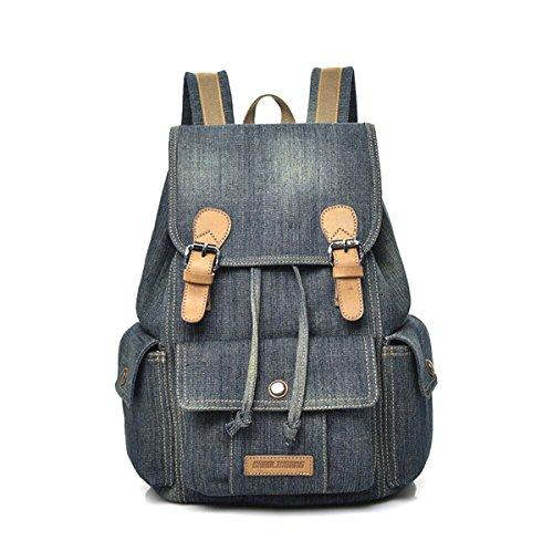 Defeng Canvas Vintage Washed Denim Backpack Rucksack Backpacks School Bags Daypacks for...