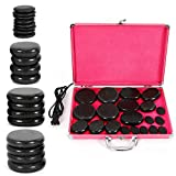 20 Pcs Basalt Hot Stones for Massage with Warmer Kit, 4 Sizes Hot Stones Massage Kit for Professional or Home Spa, Relaxing, Pain Relief