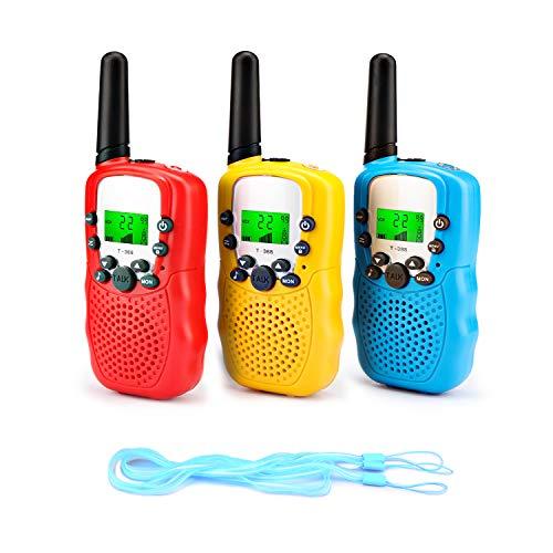 Fansteck 3PACK Talkie Walkie Talky Walky Enfant Portable Longue Transmission de 3km 8 Canaux Écran LCD avec 3 Cordes pour Les Enfants - Rouge Jaune Bleu