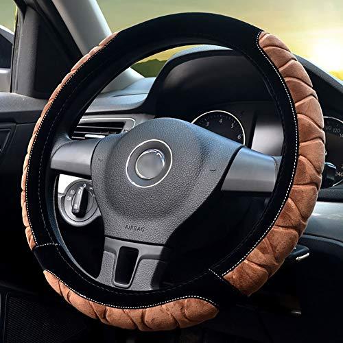 Couverture De Volant De Voiture Chaud Doux Peluche Enjoliveur De Roue Respirant Confortable Four Seasons Universal -37-39Cm,Camel,40CM