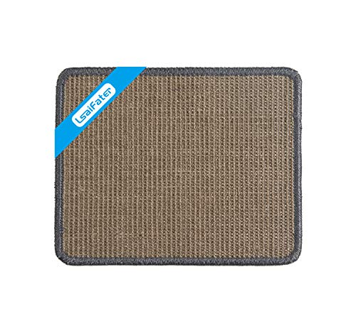 LSAIFATER Kratzmatte für Katzen, natürliche Sisalmatte, schützt Teppiche und Sofas (38x30cm, Grau)