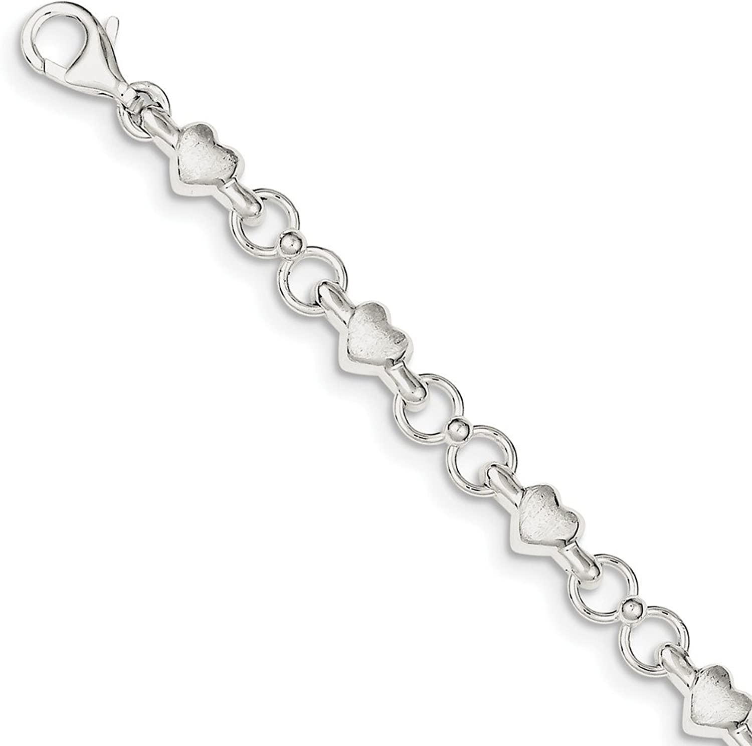 Beautiful Sterling silver 925 sterling Sterling Silver Polished and Brushed Hearts and Circles Bracelet