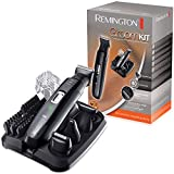 Remington Groomkit Recortadora de Barba y Cortapelos - Inalámbrico, Revestimiento de Titanio, 4 Cabezales, 6 Peines, Negro - PG6130