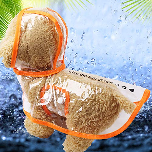 Kleine hond regenjas VIP all-inclusive Tai Dibo US huisdier waterdichte poncho paraplu kleine hond benen in laarzen kleding XS zacht materiaal doorzichtige regenjas oranje rand