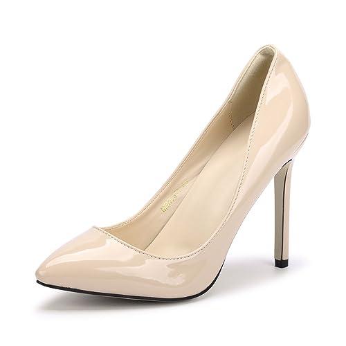 89b5f0070 OCHENTA Women Sexy Pumps PU Closed Toe High Heel Shoes