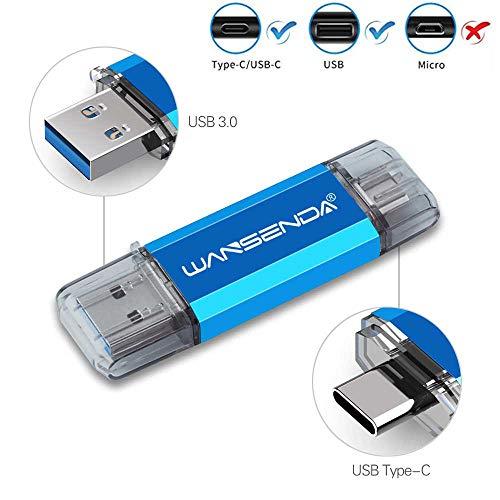 OTG Type C USB Flash Drive 2 in 1 USB Memory Stick USB 3.0/3.1 Pen Drive 32GB 64GB 128GB 256GB 512GB for Android Devices/PC/Mac (32GB, Blue)