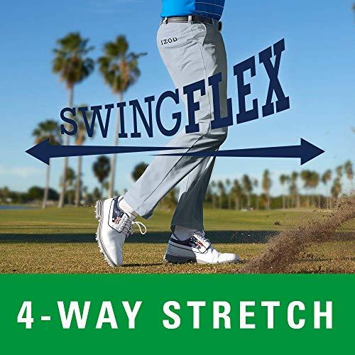 IZOD Men's Golf Swing Flex Stretch Flat Front Pant, black, 36W X 30L
