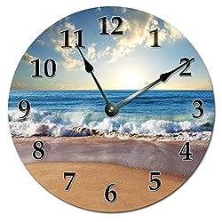 Sugar Vine Art 15.5 Xtra Large - Ocean Waves ON Shore Wall Clock - Ocean Beach Wall Clock