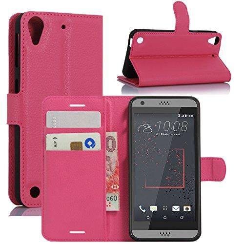 HualuBro HTC Desire 530 Hülle, Premium PU Leder Leather Wallet HandyHülle Tasche Schutzhülle Flip Hülle Cover für HTC Desire 530 Smartphone (Rose)
