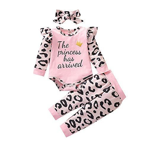 Kleinkind Baby Mädchen Outfits Set 3 Stück Langarm Brief T Shirt Lange Hose Stirnband Baumwolle Kleidung Set für 0-24 Monate (0-6Monate, C-Rosa)