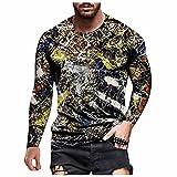 D-Rings Camisa hawaiana para hombre, corte ajustado, con botones, para otoño e invierno, cuello redondo, manga larga, naranja, XXL