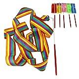 6 x Mix Colours 4M Gym Dance Ribbon Rhythmic Art Gymnastic Streamer Twirling Rod