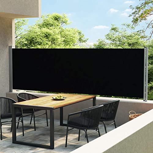 vidaXL Seitenmarkise Ausziehbar UV- und Wasserbeständig Sonnenschutz Sichtschutz Windschutz Seitenrollo Markise Balkon Garten Terrasse 140x600cm Schwarz