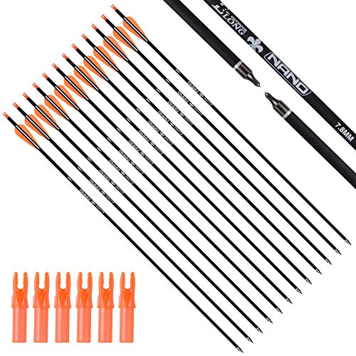 30Inch Carbon Arrow Practice Hunting Arrows Targeting with Removable Tips for Archery Compound & Recurve & Traditional Bow (Pack of 12)