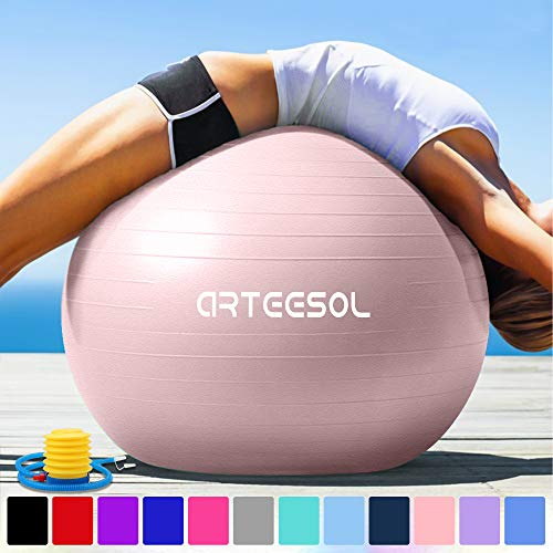 arteesol Gymnastikball Pilates Ball 45cm / 55cm / 65cm / 75 cm inkl. Pumpe Anti-Burst Sitzball für Yoga Exercise Fitness Physiotherapie (5 Farben) (Hellrosa, 45cm)