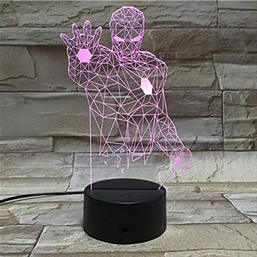 3D Nachtlicht, Iron Man Illusion Lampe, 3D Nachtlicht Lampe 7 Farbwechsel, Schreibtisch Dekoration Lampen, Geburtstag Weihnachtsgeschenk