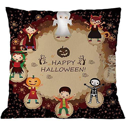 Suo Long Happy Halloween Party Kissenbezüge Goblin Kürbis Fledermäuse Hexe Geister Cosplay Print Dekokissen Cases, (C)
