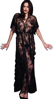e7a79de383 LvRao Donna Sexy Pizzo Mesh Trasparente Intimo Lingerie Lungo Vestito V  Collo Manica Corta Pigiama Camicie