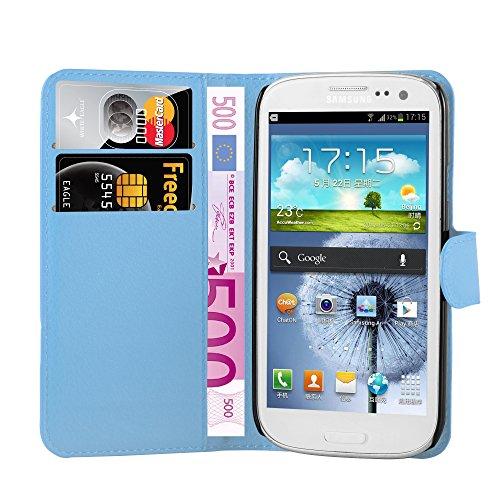 Cadorabo Funda Libro para Samsung Galaxy S3 Mini en Azul Pastel - Cubierta Proteccíon con Cierre Magnético, Tarjetero y Función de Suporte - Etui Case Cover Carcasa