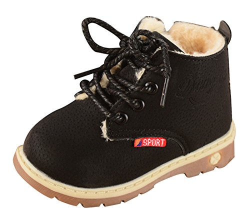Happy Cherry Boys Girls Ankle Boots Fur Lined Winter Autumn Warm Shoelace Martin Boots Shoes with Zipper Black Size 23