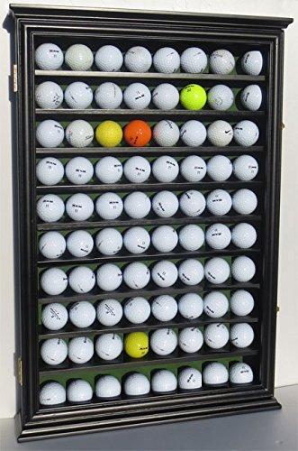 80 Novelty/Souvenir Golf Ball Display Case Holder Cabinet, with glass door, (Black Finish)