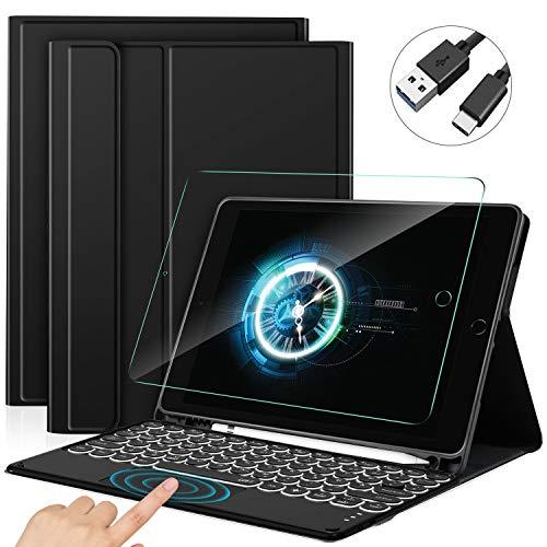 Sross Tastatur für iPad 10.2, QWERTZ Beleuchtete Tastatur Hülle für iPad 8./7. Generation (iPad 2020/2019),iPad Air 3, iPad Pro 10,5 Zoll, Tastatur Hülle mit Touchpad + Panzerglas, Schwarz