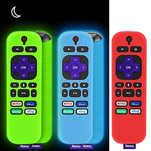 WEVOVE Remote Cover Case, Silicone Cover Case with Lanyard for Roku Player, Shockproof&Anti SlipCover Compatible with Roku TV Brands As TCL, HI Sense, Sharp, Element&Hitachi(3 Pack)(Green&Blue Glow)