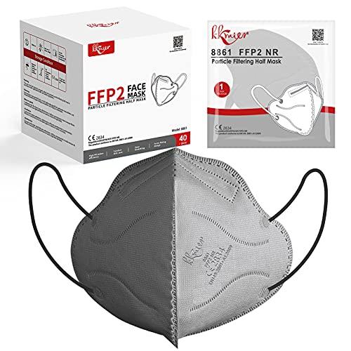 KKmier FFP2 Maske Einweg-Atemschutzmasken CE Zertifikat 5-lagige Mundschutzmasken Grau Einzel Verpakt 40 Stück