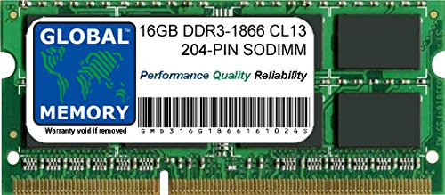 16GB DDR3 1866MHz PC3-14900 204-PIN SODIMM MEMORY RAM FOR LAPTOPS/NOTEBOOKS