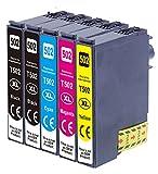 5X kompatible Tintenpatrone als Ersatz für EPSON 502XL für Epson WF-2860DWF WF-2865DWF XP-5100 XP-5105 XP-5115 schwarz, schwarz, Cyan, Magenta, gelb