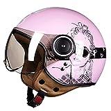 DDH Casco de Motocicleta, Casco Jet, Certificado por ECE y Punto, Casco de Scooter de piloto de Jet Vintage, visores Separados, Incluyendo Beige, m, l, XL-Powder  L