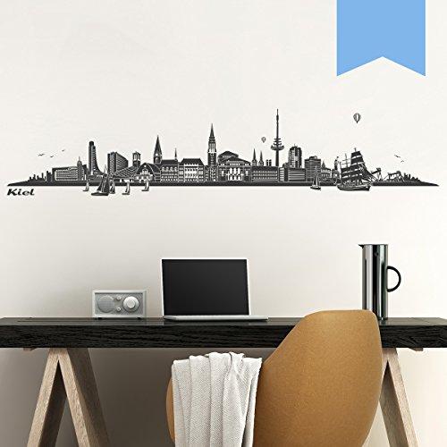 WANDKINGS Wandtattoo - Skyline Kiel - 140 x 28 cm - Lichtblau - Wähle aus 6 Größen & 35 Farben