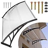 Marquesina para puerta de casa, tejado de 5 mm de grosor, policarbonato transparente y marco de aluminio, protección solar contra la lluvia, para garaje, balcón, ventana, casa, 120 x 93 cm