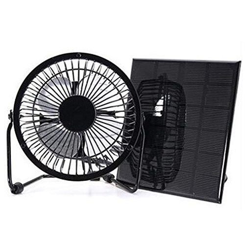 Ventilador de panel solar, 3 W, 6 V, mini panel solar, ventilador de refrigeración de 4 pulgadas, para camping, caravana, yate, invernadero, casa de perro, pollo, ventilador