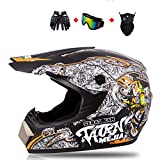 LXHG Full Face Motocross Helmet, ATV Helmets with Goggles Neck Gaiter Gloves DOT Approved Dirt Bike Off Road Motorcycle Helmet MX MTB BMX Downhill Helmet for Men Women,Black,L