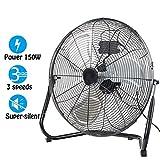 Dawoo 20'Ventilateur industriel 50cm Ventilateur sur pied 3 vitesses Puissant ventilateur de plancher à haute vélocité 150W , Fit pour atelier, entrepôt (Noir)
